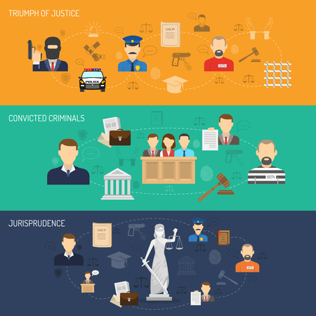criminal case: Jurisprudence legal process theory and practice flat horizontal banners set with convicted criminals abstract isolated vector illustration