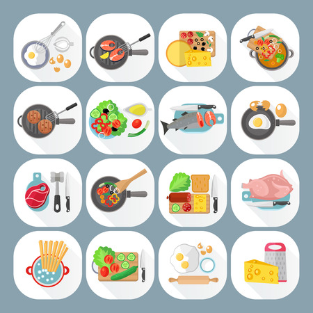 meat dish: Home cooking day menu flat icons set with vegetables cheese and meat dishes abstract isolated vector illustration