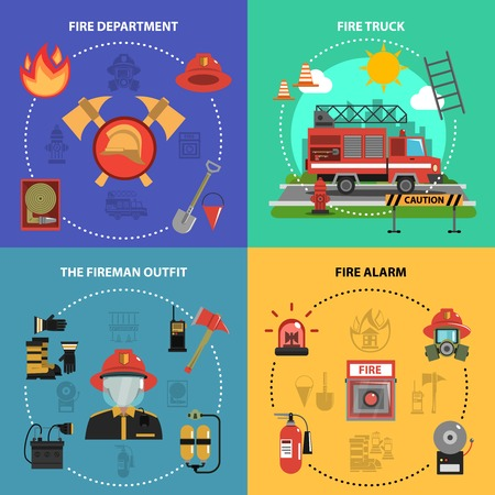 fire and water: Fire fighting design concept set with fireman truck outfit alarm flat icons isolated vector illustration