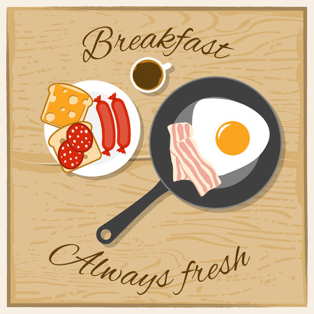 bacon art: Breakfast coffee scrambled eggs bacon and sandwich with always fresh text flat color concept vector illustration