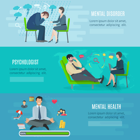 mental disorder: Mental disorder psychological treatment with principles of regaining balance flat horizontal banners set abstract isolated vector illustration