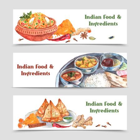 인도 음식 수채화 가로 배너는 향신료 쌀 설정하고 성분 벡터 일러스트 레이 션에 고립 일러스트