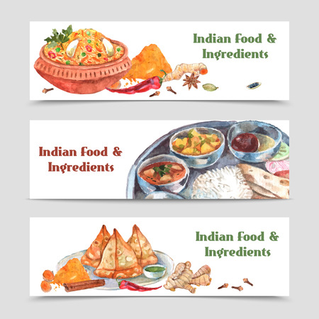 indians: Indian food watercolor horizontal banners set with spices rice and ingredients isolated vector illustration