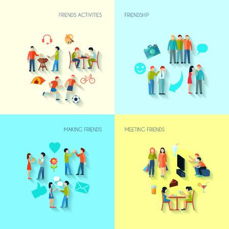 Freundschaft Symbole mit Aktivitäten machen und Freunde treffen flachen isolierten Vektor-Illustration festgelegt Vektorgrafik