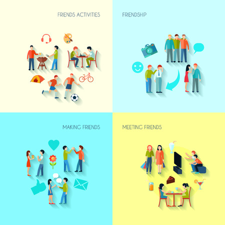 free time: Friendship icons set with activities making and meeting friends flat isolated vector illustration