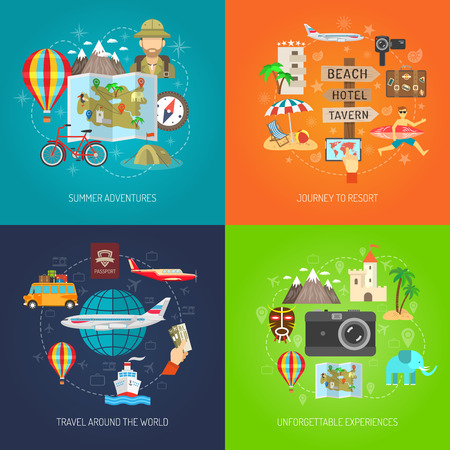 Summer adventure journey to resort and travel around world flat color decorative icon set isolated vector illustration