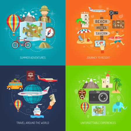 Viaje de aventura de verano de recurrir y viajar alrededor aislado color plano icono decorativo mundo conjunto ilustración vectorial