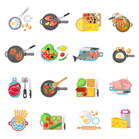 pans: Home cooking healthy food flat pictograms collection of meat salads and fish dishes abstract isolated vector illustration Illustration