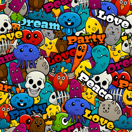 tileable: Graffiti cartoon abstract characters and peace love and party text flat color seamless pattern vector illustration