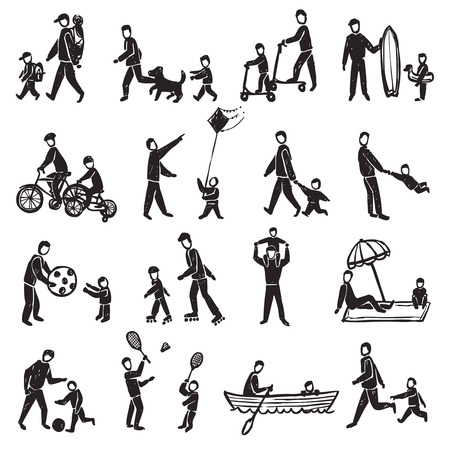 physical activity: Family physical activity walking rollers badminton and other sport and rest sketch silhouette isolated vector illustration