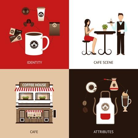 coffee beans: Nhà thiết kế cà phê khái niệm thiết lập với quán cà phê căn hộ biểu tượng tách biệt vector minh hoạ Hình minh hoạ