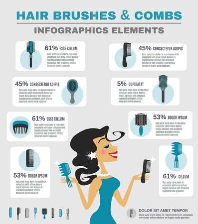 Comb infographics set with beautiful smiling female with hair brush vector illustration