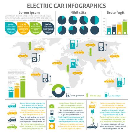 color distribution: Electric car and charging station world distribution and expansion statistic flat color infographic set vector illustration Illustration