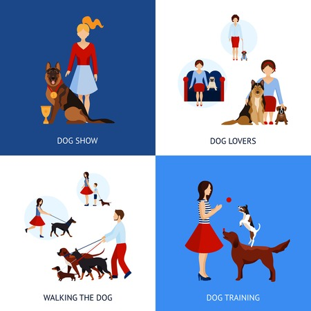 pets icon: People with dogs design concept set with walking and training flat icons isolated vector illustration