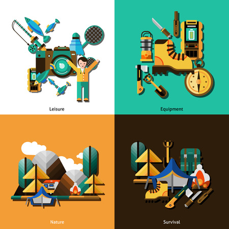 survival: Camping and survival icons set with equipment and nature flat isolated vector illustration Illustration