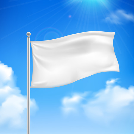 White flag in the wind against the blue sky with white clouds background banner abstract vector illustration Vectores