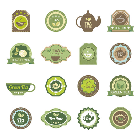 green powder: Ecological green and fermented black tea lemon flavor teabags premium brands labels set abstract isolated vector illustration
