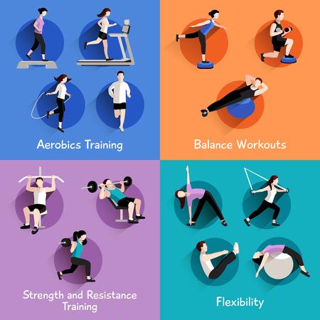 fitness: Aërobe de kracht en de vormgeving van het lichaam oefeningen geïsoleerd 4 vlakke pictogrammen vierkante samenstelling banner abstracte illustratie