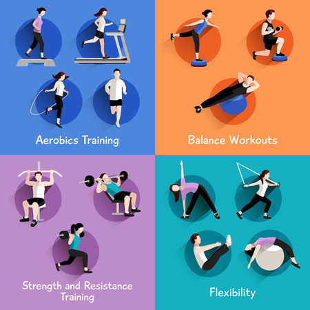 exercise equipment: Fitness aerobic strength and body shaping exercises 4 flat icons square composition banner abstract isolated vector illustration