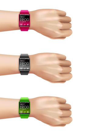 Smart wrist multimedia watch gadget on hand realistic color decorative icon set isolated vector illustration