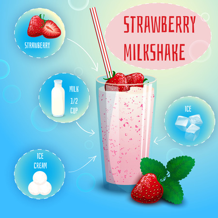 shakes: Delicious strawberry milkshake smoothie recipe graphic presentation with infographic elements decorative poster print abstract vector illustration