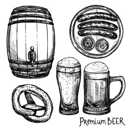 keg: Beer in pint and keg with sausage and pretzel sketch decorative icon set isolated vector illustration