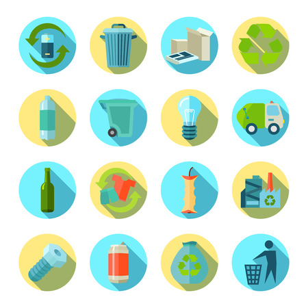 sorting: Waste sorting and reduction round icons set with recycling factory flat isolated shadow vector illustration