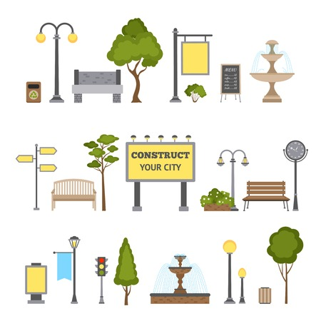 outdoor advertising construction: Outdoor and city landscape design object set isolated vector illustration