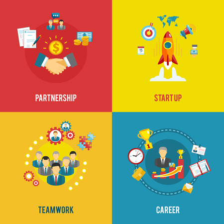 career timing: Partnership teamwork and innovative ideas in startup business planning 4 flat icons composition abstract isolated vector illustration Illustration