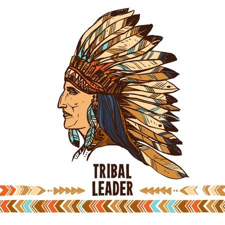 apache: Native american apache indian profile in tribal costume sketch portrait vector illustration