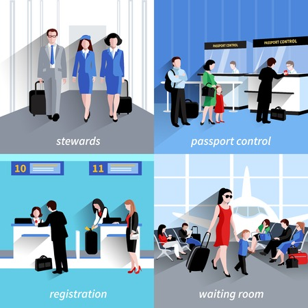 People in airport design concept set with passport control and registration flat icons isolated vector illustration Illustration
