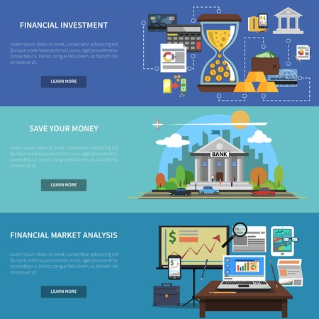 global finance: Finance banner horizontal set with financial investment and market analysis flat elements isolated vector illustration