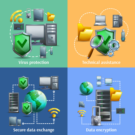 Data encryption security and exchange cartoon icons set with virus protection isolated vector illustration