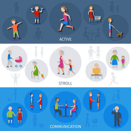 People lifestyle activity scroll and communication flat color horizontal banner set isolated vector illustration Illustration