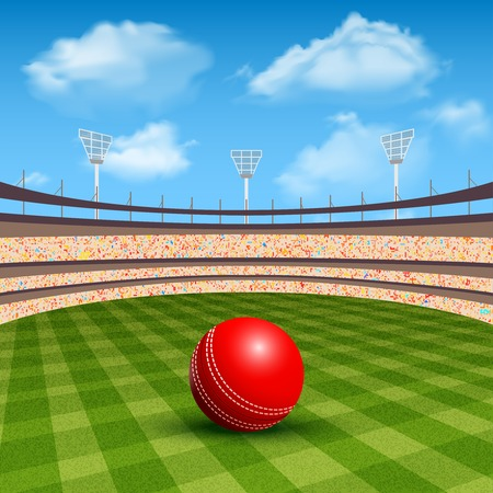 crickets: Open stadium of cricket with realistic red leather ball vector illustration