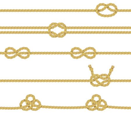 gefesselt: Gestrickte und zugehörige gedrehten Seilen Zwirne mit Knoten realistische Farb dekorativen Grenze Set isoliert Vektor-Illustration