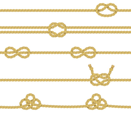twisted: Knitted and associated twisted ropes twines with nodes realistic color decorative border set isolated vector illustration
