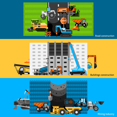 mini loader: Construction machines horizontal banners set with excavators cranes and bulldozers flat isolated vector illustration Illustration