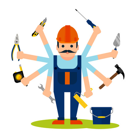 toolbox: Flat style concept of handyman worker with 8 hands and tools for house maintenance repairs and renovation vector illustration