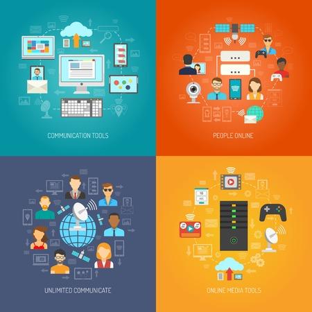 comunicarse: Es concepto de diseño conjunto con herramientas de comunicación en línea iconos planos aislados ilustración vectorial