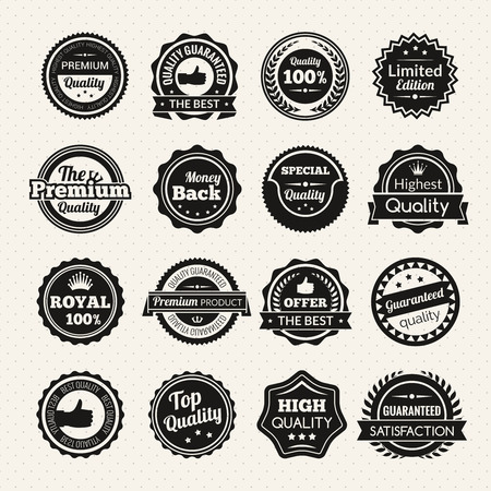 retro illustration: Vintage guaranteed quality, best offer and limited edition round color stamps isolated vector illustration