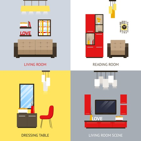 dressing table: Living room design concept set with dressing table flat icons isolated vector illustration