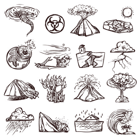 cataclysm: Natural disasters earthquake tsunami volcanic tornado and other cataclysm doodle sketch hand drawn isolated vector illustration