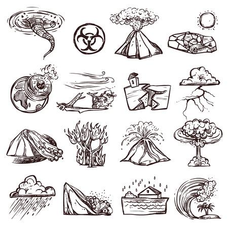 Natuurrampen aardbeving tsunami vulkanische tornado en andere ramp doodle schets hand getekende geïsoleerde vector illustratie