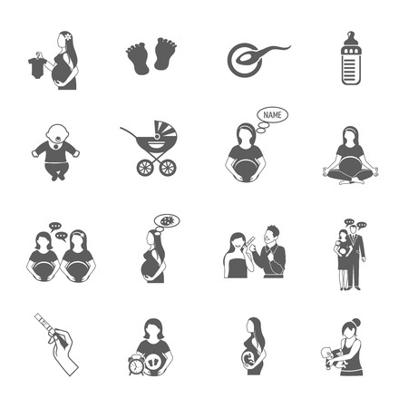 Pregnancy black icon set with expectant mother and child symbols isolated vector illustration