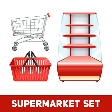 empty basket: Supermarket realistic set with empty shelves basket and trolley isolated vector illustration