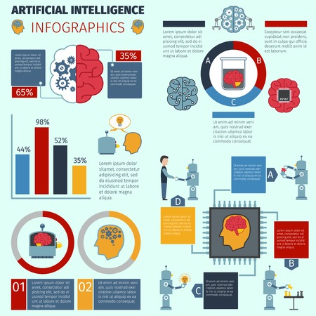 Artificial intelligence infographic set with cyber technology symbols and charts vector illustration Illustration
