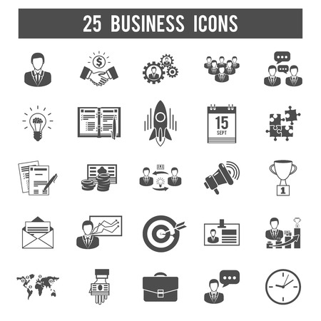 product development: Successful new business launch and partnership development strategy concept 25 black icon collection abstract isolated vector illustration