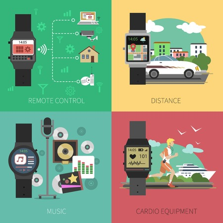 sport equipment: Smart watch design concept set with remote control and sport equipment flat icons isolated vector illustration