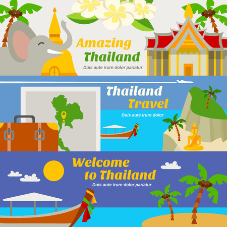 thailand: Thailand travel horizontal banners set with sights beach resorts and map flat isolated vector illustration